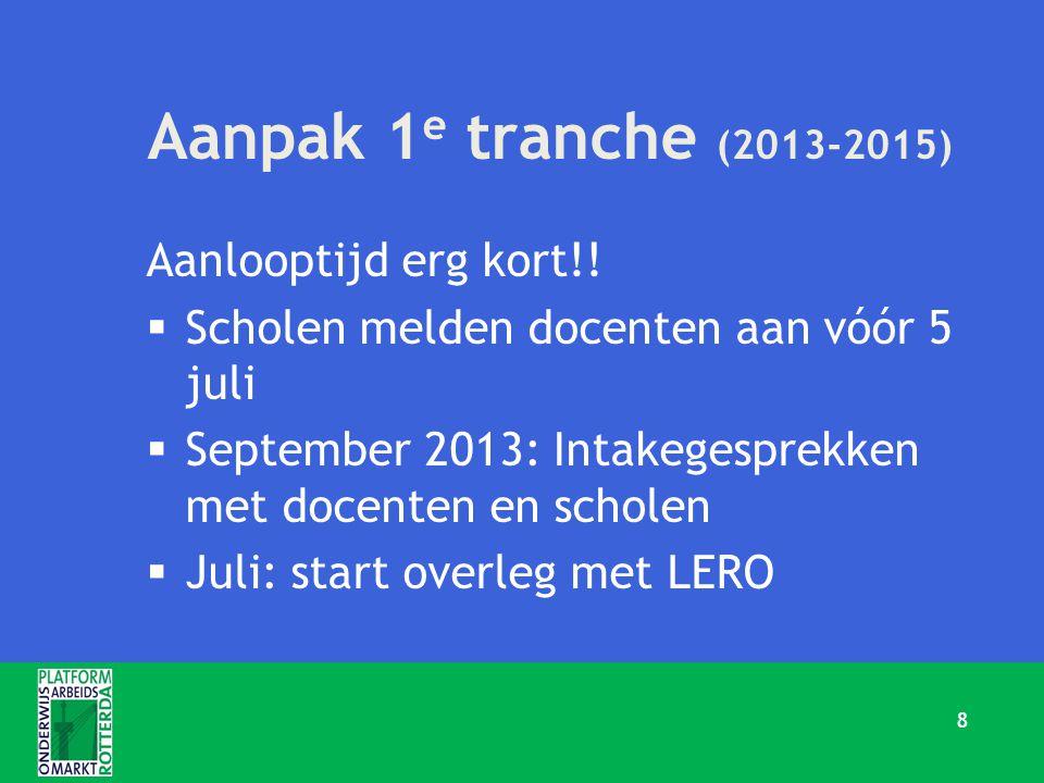 Aanpak 1 e tranche (2013-2015) Aanlooptijd erg kort!!  Scholen melden docenten aan vóór 5 juli  September 2013: Intakegesprekken met docenten en sch