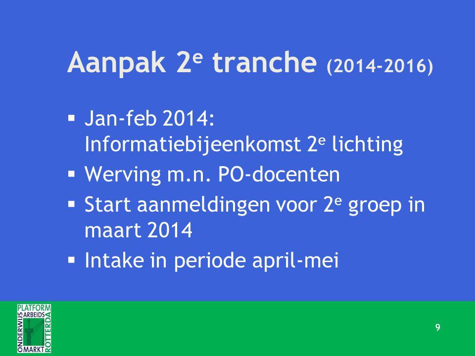 Aanpak 2 e tranche (2014-2016)  Jan-feb 2014: Informatiebijeenkomst 2 e lichting  Werving m.n. PO-docenten  Start aanmeldingen voor 2 e groep in ma
