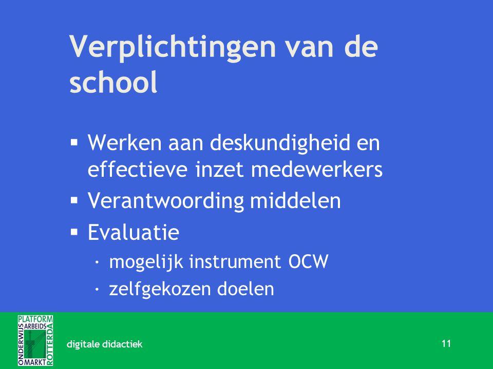 Verplichtingen van de school  Werken aan deskundigheid en effectieve inzet medewerkers  Verantwoording middelen  Evaluatie ·mogelijk instrument OCW ·zelfgekozen doelen 11 digitale didactiek