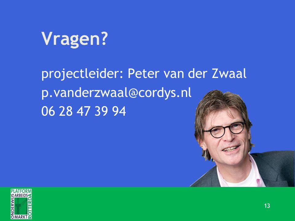 Vragen projectleider: Peter van der Zwaal p.vanderzwaal@cordys.nl 06 28 47 39 94 13