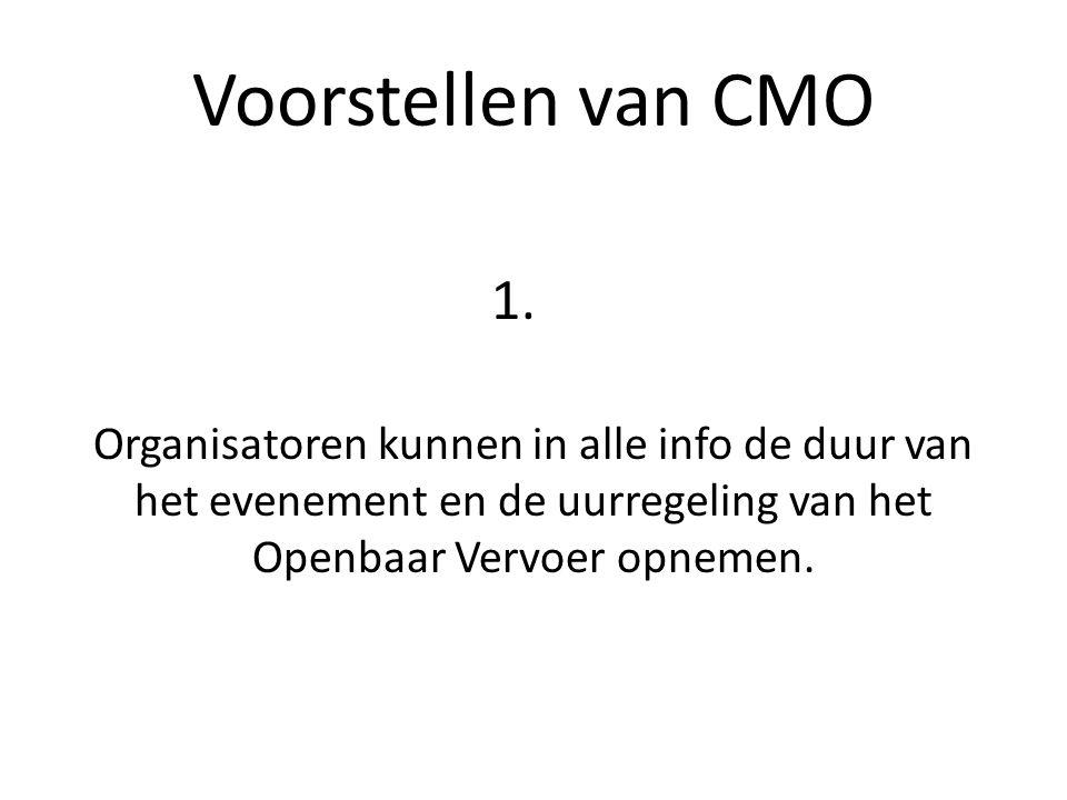 Voorstellen van CMO 1. Organisatoren kunnen in alle info de duur van het evenement en de uurregeling van het Openbaar Vervoer opnemen.