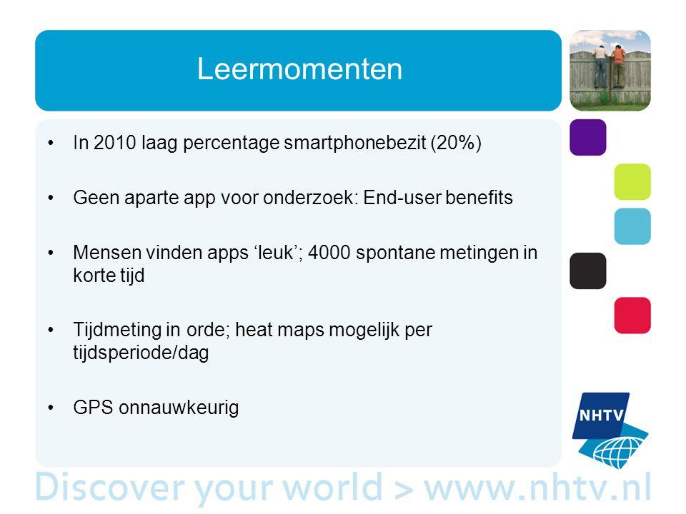 Leermomenten In 2010 laag percentage smartphonebezit (20%) Geen aparte app voor onderzoek: End-user benefits Mensen vinden apps 'leuk'; 4000 spontane metingen in korte tijd Tijdmeting in orde; heat maps mogelijk per tijdsperiode/dag GPS onnauwkeurig