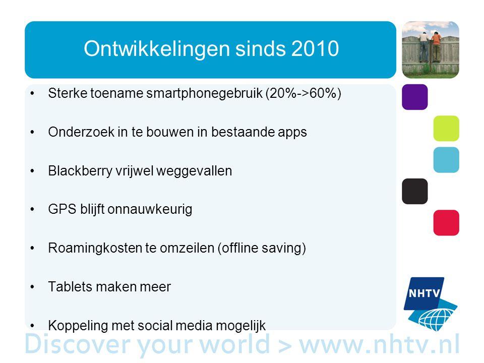 Ontwikkelingen sinds 2010 Sterke toename smartphonegebruik (20%->60%) Onderzoek in te bouwen in bestaande apps Blackberry vrijwel weggevallen GPS blijft onnauwkeurig Roamingkosten te omzeilen (offline saving) Tablets maken meer Koppeling met social media mogelijk