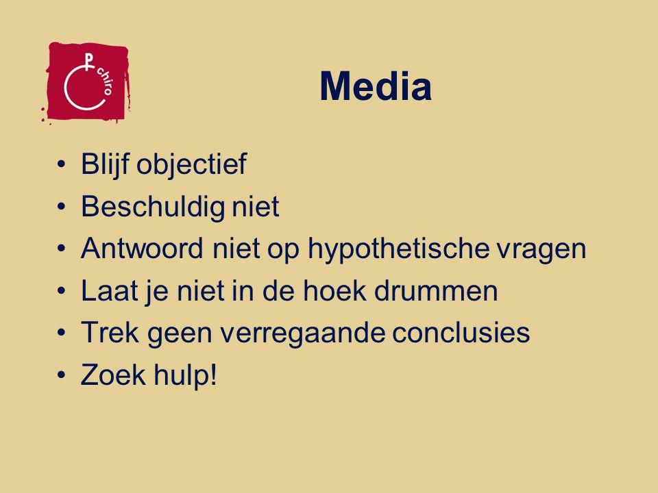Media Blijf objectief Beschuldig niet Antwoord niet op hypothetische vragen Laat je niet in de hoek drummen Trek geen verregaande conclusies Zoek hulp!