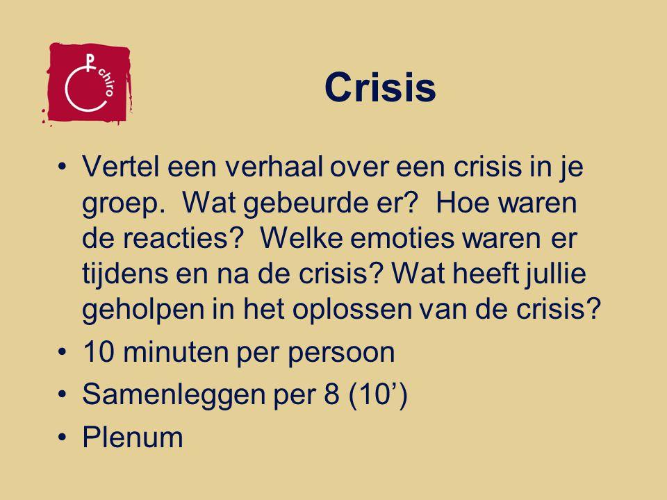 Crisis Vertel een verhaal over een crisis in je groep. Wat gebeurde er? Hoe waren de reacties? Welke emoties waren er tijdens en na de crisis? Wat hee