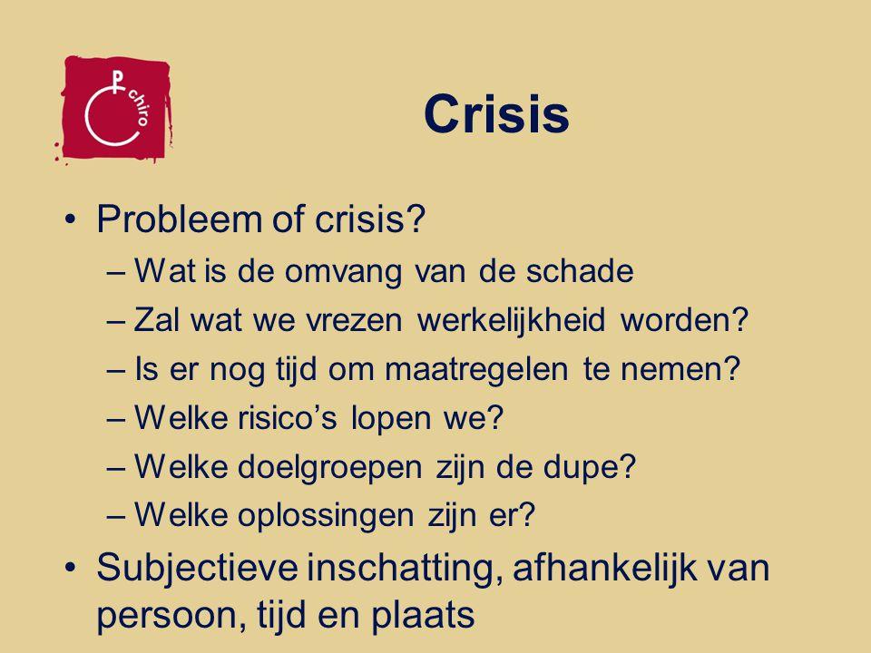 Crisis Een ramp! Een sluipende crisis Kwaad opzet