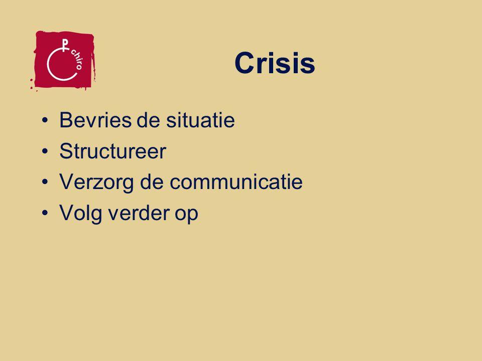 Bevries de situatie Breng iedereen in veiligheid Verwittig hulpdiensten Voorkom paniek, breng rust Verleen hulp Scheid slachtoffers van omstaanders Zorg ook voor de rest van je groep