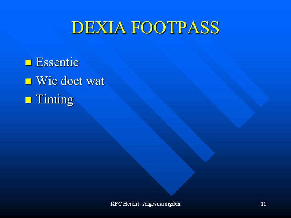 KFC Herent - Afgevaardigden11 DEXIA FOOTPASS Essentie Essentie Wie doet wat Wie doet wat Timing Timing