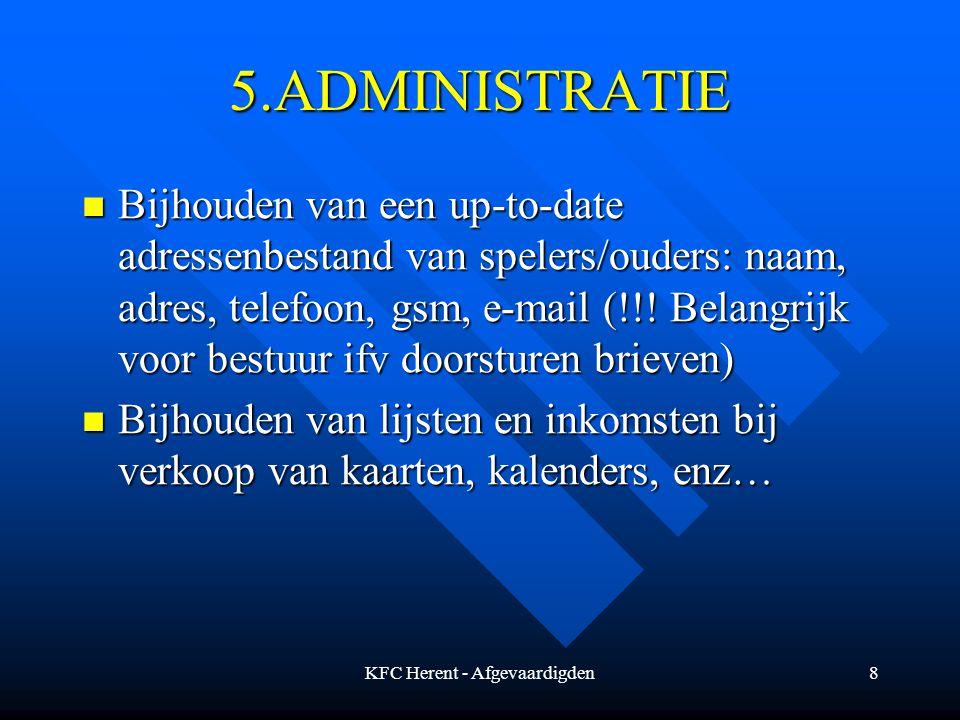 KFC Herent - Afgevaardigden8 5.ADMINISTRATIE Bijhouden van een up-to-date adressenbestand van spelers/ouders: naam, adres, telefoon, gsm, e-mail (!!.