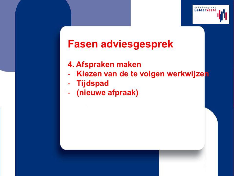 Fasen adviesgesprek 4. Afspraken maken -Kiezen van de te volgen werkwijzen -Tijdspad -(nieuwe afpraak)