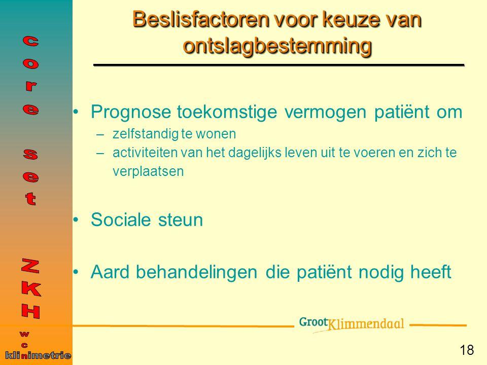 18 Beslisfactoren voor keuze van ontslagbestemming Prognose toekomstige vermogen patiënt om –zelfstandig te wonen –activiteiten van het dagelijks leve