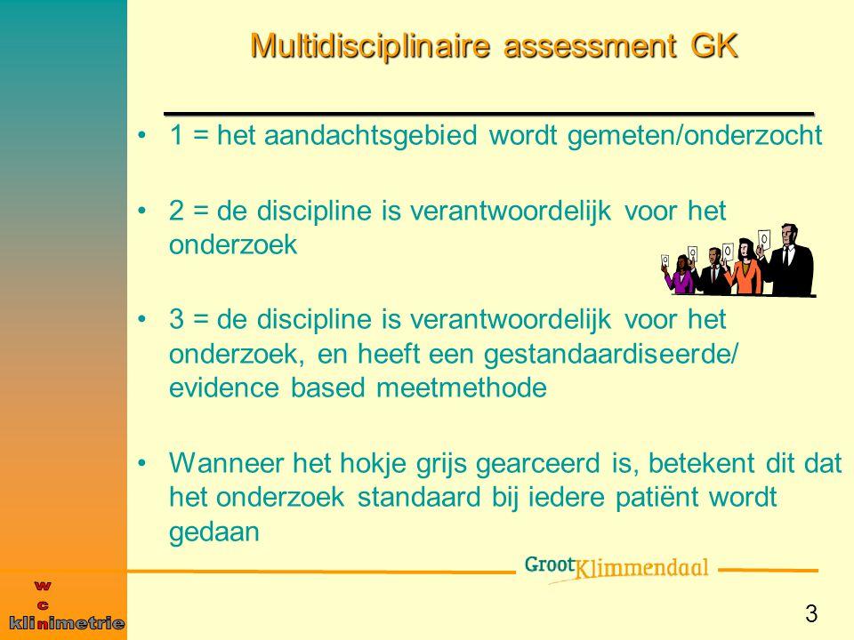 3 Multidisciplinaire assessment GK 1 = het aandachtsgebied wordt gemeten/onderzocht 2 = de discipline is verantwoordelijk voor het onderzoek 3 = de di
