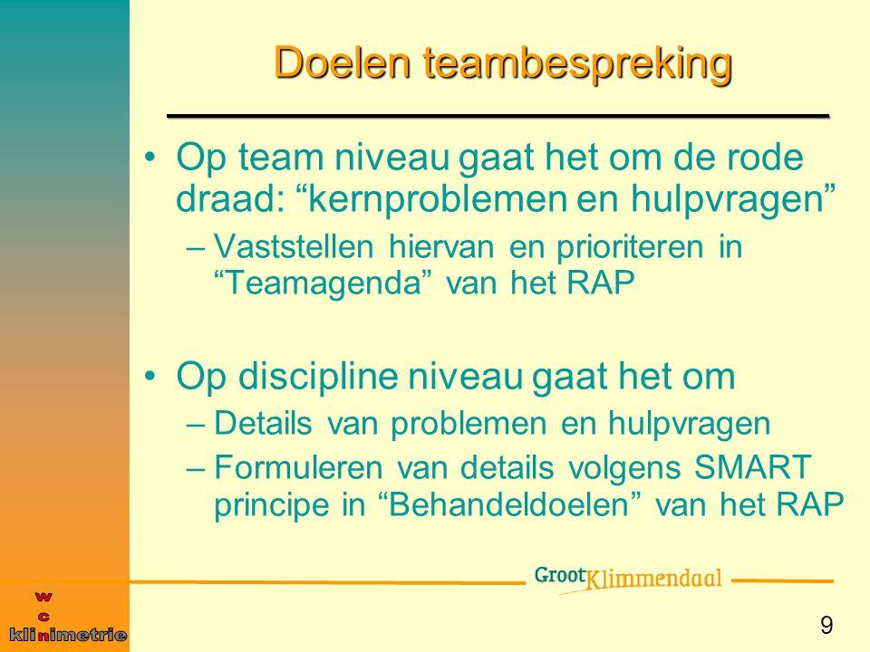 """9 Doelen teambespreking Op team niveau gaat het om de rode draad: """"kernproblemen en hulpvragen"""" –Vaststellen hiervan en prioriteren in """"Teamagenda"""" va"""