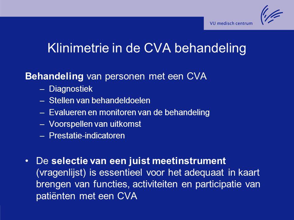 Klinimetrie in de CVA behandeling Behandeling van personen met een CVA –Diagnostiek –Stellen van behandeldoelen –Evalueren en monitoren van de behande