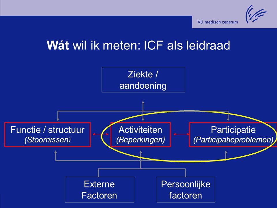 Externe Factoren Persoonlijke factoren Functie / structuur (Stoornissen ) Activiteiten (Beperkingen) Participatie (Participatieproblemen) Ziekte / aan