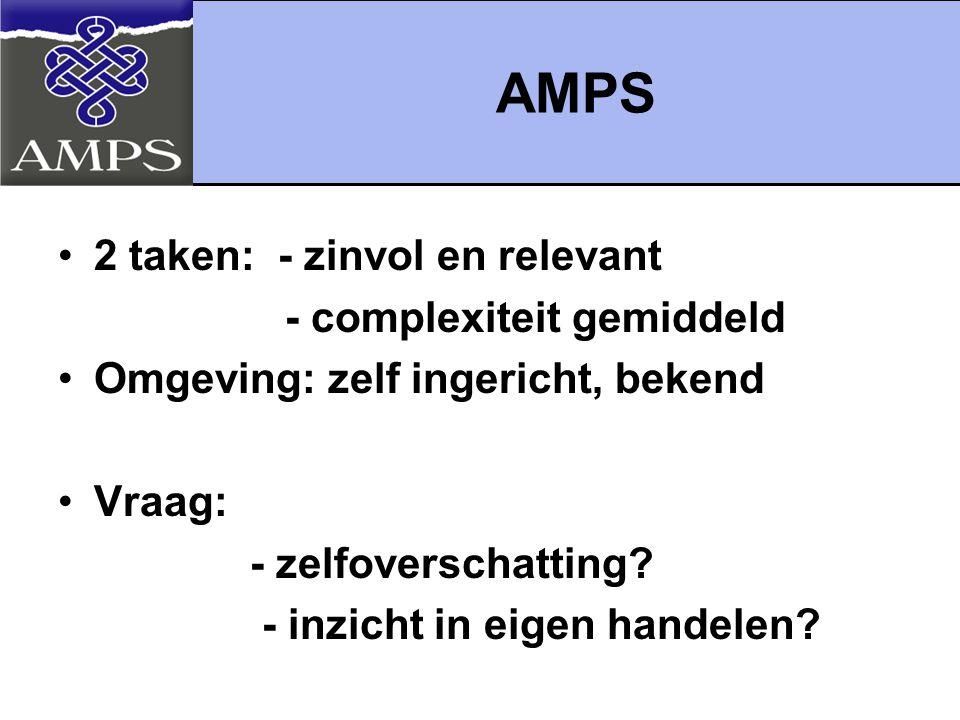 AMPS 2 taken: - zinvol en relevant - complexiteit gemiddeld Omgeving: zelf ingericht, bekend Vraag: - zelfoverschatting? - inzicht in eigen handelen?