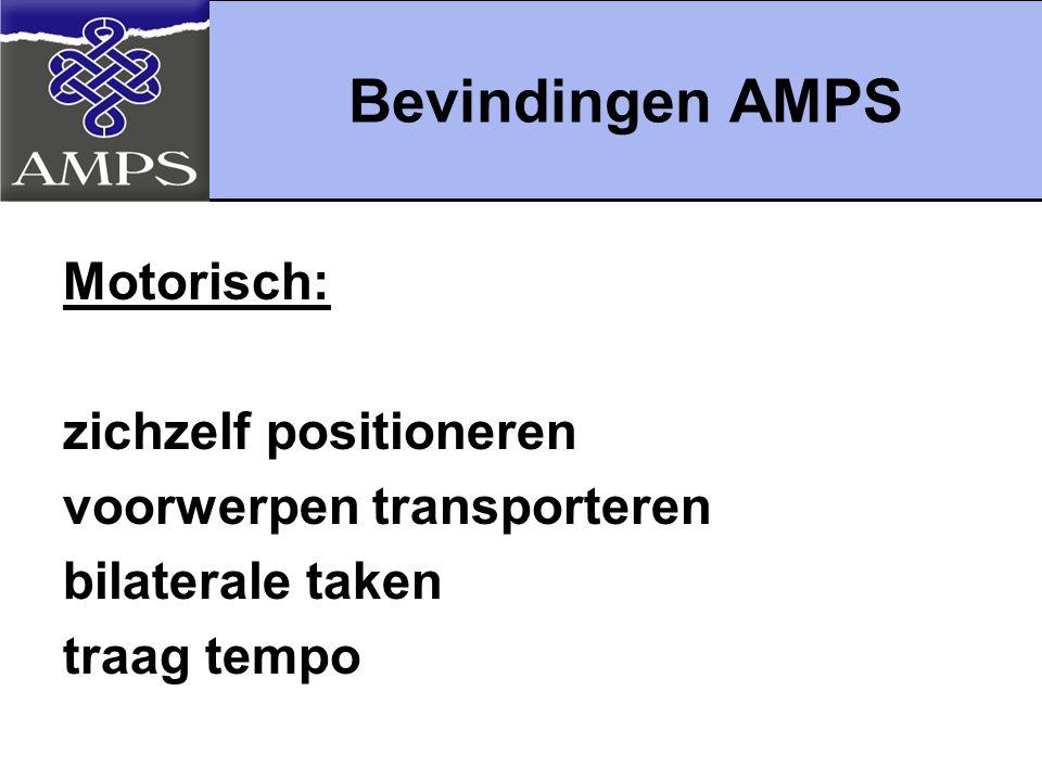 Bevindingen AMPS Motorisch: zichzelf positioneren voorwerpen transporteren bilaterale taken traag tempo