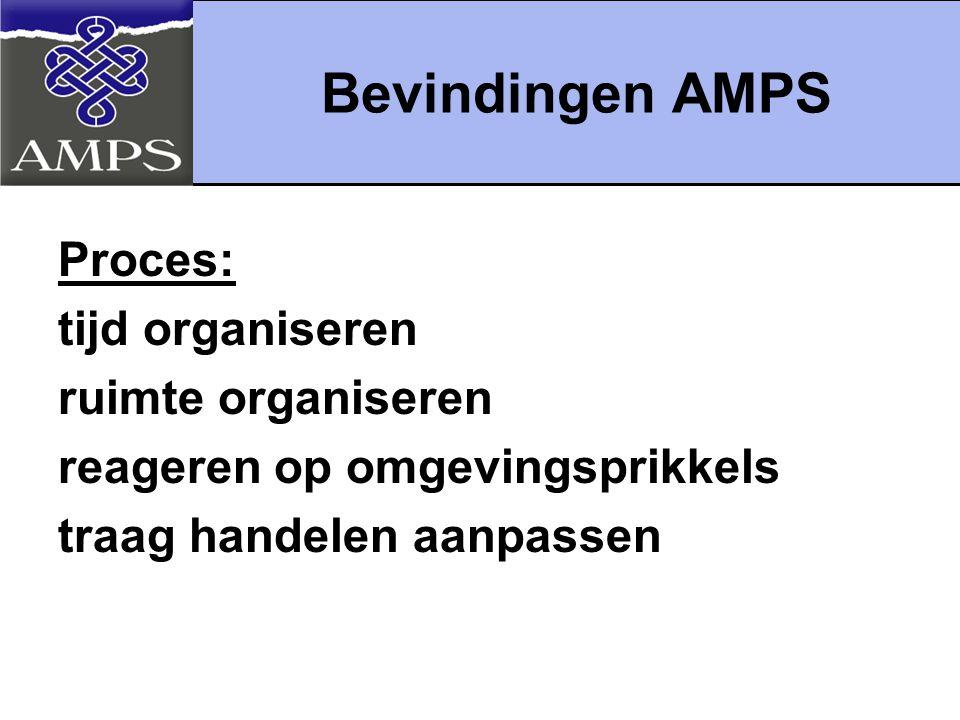 Bevindingen AMPS Proces: tijd organiseren ruimte organiseren reageren op omgevingsprikkels traag handelen aanpassen