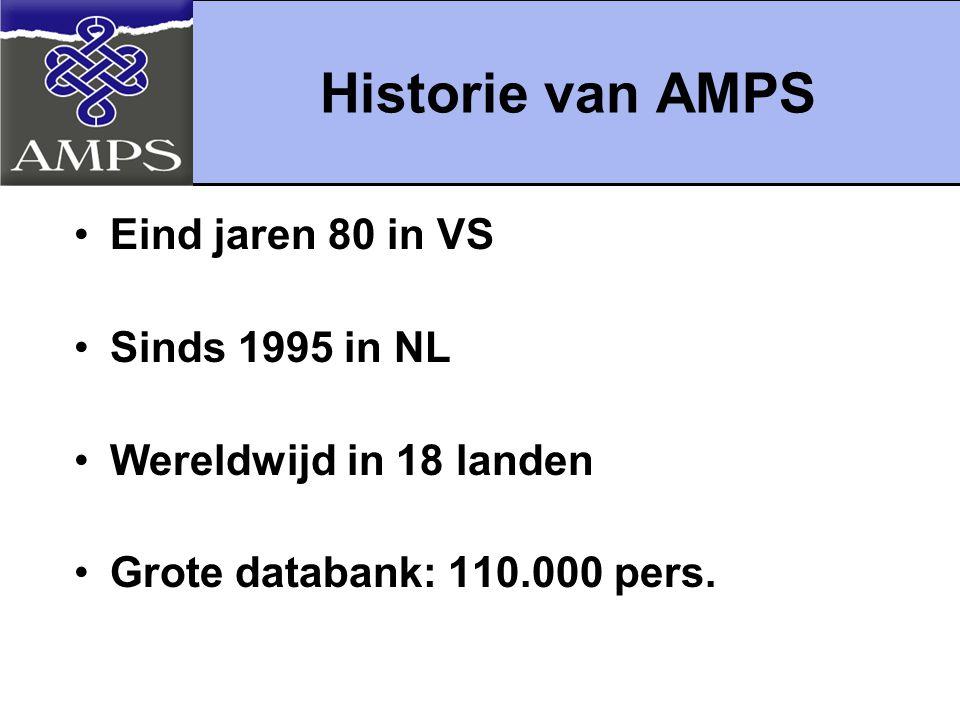 Historie van AMPS Eind jaren 80 in VS Sinds 1995 in NL Wereldwijd in 18 landen Grote databank: 110.000 pers.