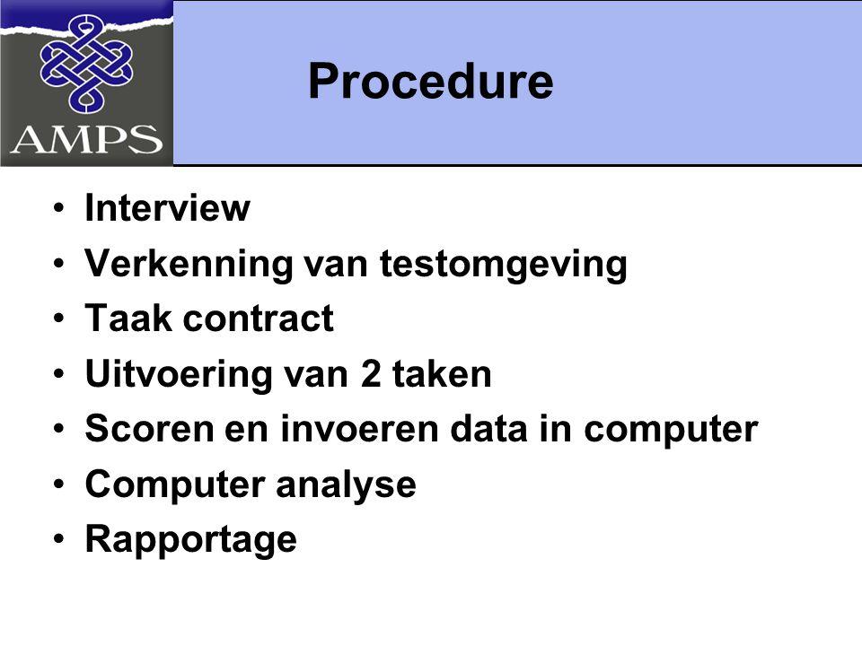 Procedure Interview Verkenning van testomgeving Taak contract Uitvoering van 2 taken Scoren en invoeren data in computer Computer analyse Rapportage