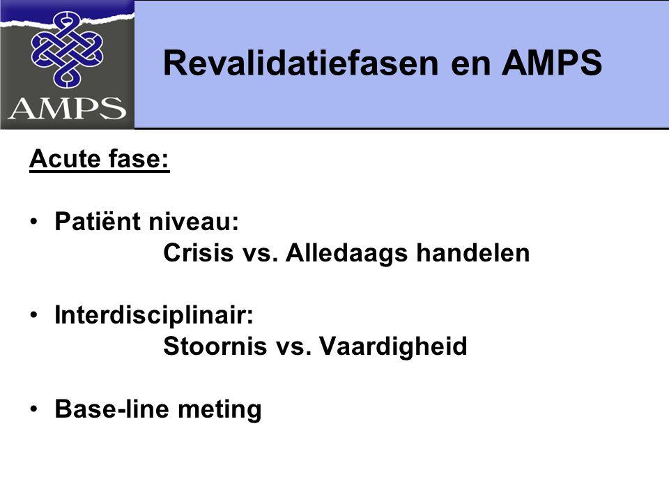 Revalidatiefasen en AMPS vervolg Revalidatiefase: Patiënt niveau:- handelingsprofiel - behandeldoelen Interdisciplinair:- interventiestrategieën