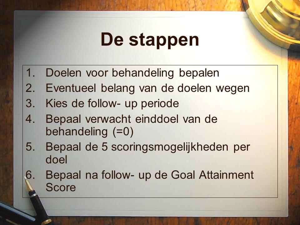 De stappen 1.Doelen voor behandeling bepalen 2.Eventueel belang van de doelen wegen 3.Kies de follow- up periode 4.Bepaal verwacht einddoel van de beh