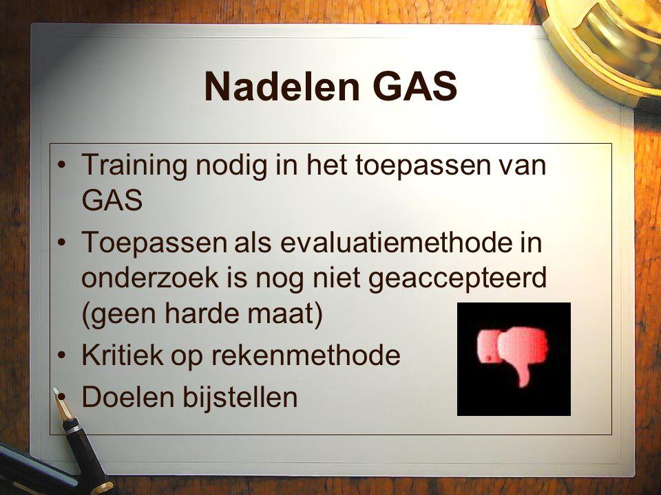 Nadelen GAS Training nodig in het toepassen van GAS Toepassen als evaluatiemethode in onderzoek is nog niet geaccepteerd (geen harde maat) Kritiek op