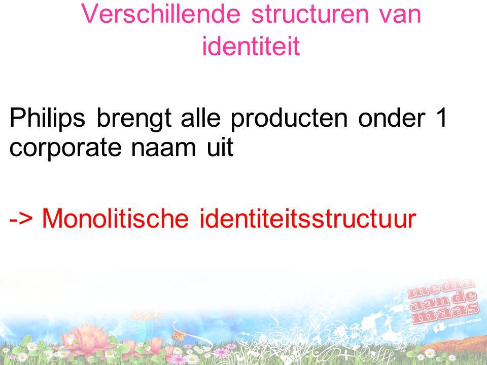 Verschillende structuren van identiteit Philips brengt alle producten onder 1 corporate naam uit -> Monolitische identiteitsstructuur