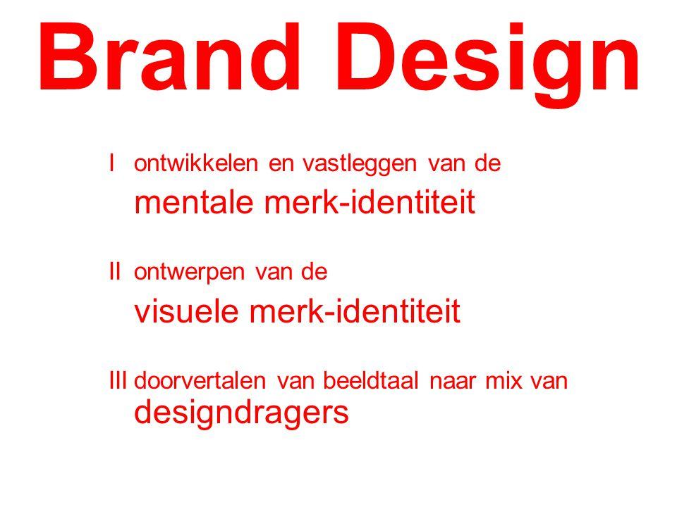 Iontwikkelen en vastleggen van de mentale merk-identiteit IIontwerpen van de visuele merk-identiteit IIIdoorvertalen van beeldtaal naar mix van designdragers Brand Design