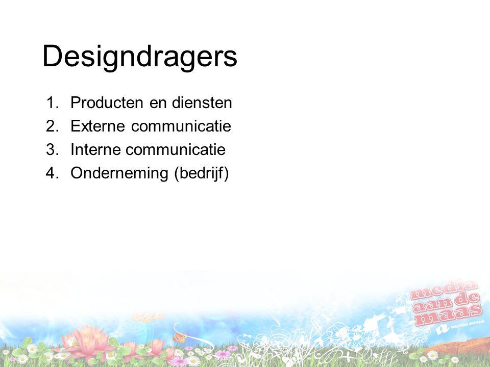 Designdragers 1.Producten en diensten 2.Externe communicatie 3.Interne communicatie 4.Onderneming (bedrijf)