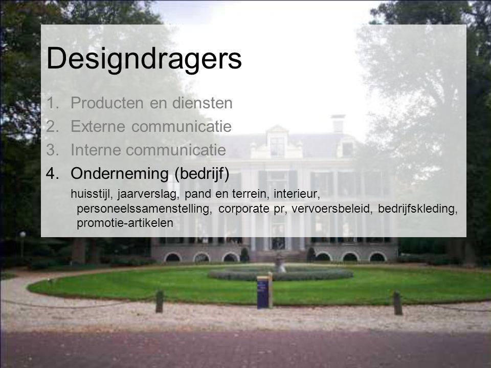 Designdragers 1.Producten en diensten 2.Externe communicatie 3.Interne communicatie 4.Onderneming (bedrijf) huisstijl, jaarverslag, pand en terrein, interieur, personeelssamenstelling, corporate pr, vervoersbeleid, bedrijfskleding, promotie-artikelen