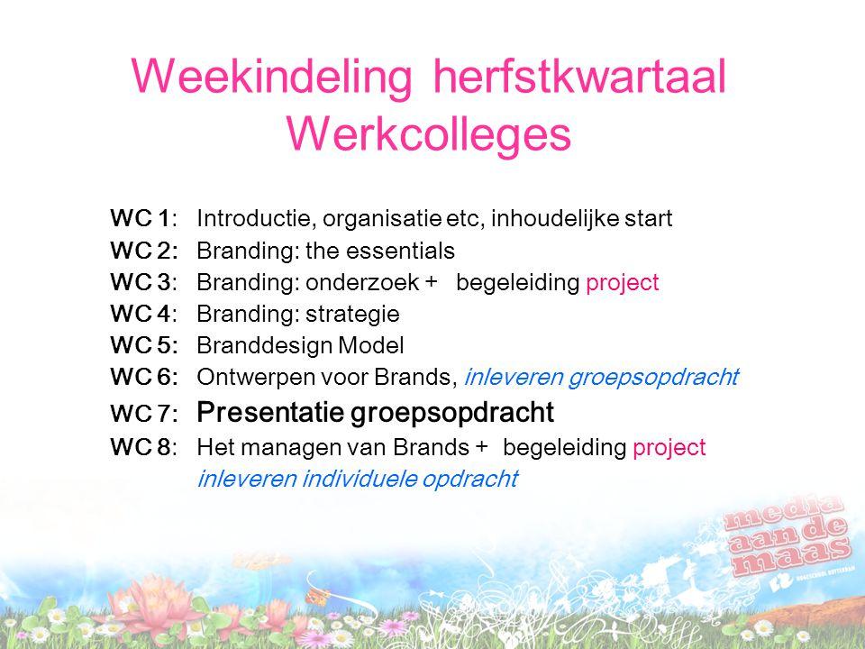 Weekindeling herfstkwartaal Werkcolleges WC 1: Introductie, organisatie etc, inhoudelijke start WC 2: Branding: the essentials WC 3: Branding: onderzo