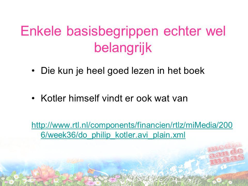 Enkele basisbegrippen echter wel belangrijk Die kun je heel goed lezen in het boek Kotler himself vindt er ook wat van http://www.rtl.nl/components/fi