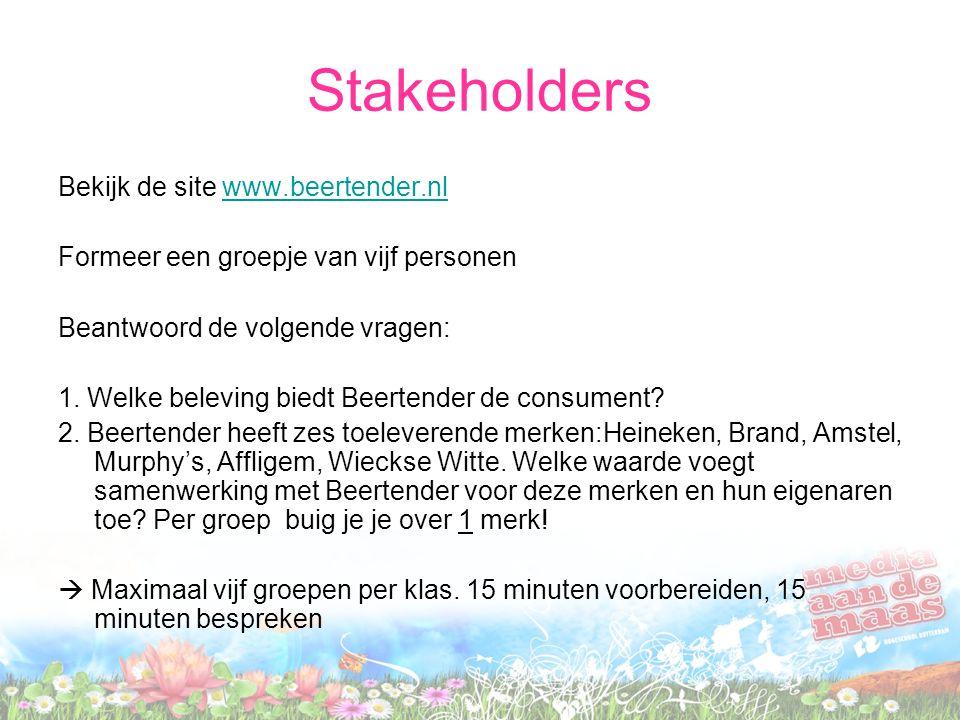 Stakeholders Bekijk de site www.beertender.nlwww.beertender.nl Formeer een groepje van vijf personen Beantwoord de volgende vragen: 1. Welke beleving