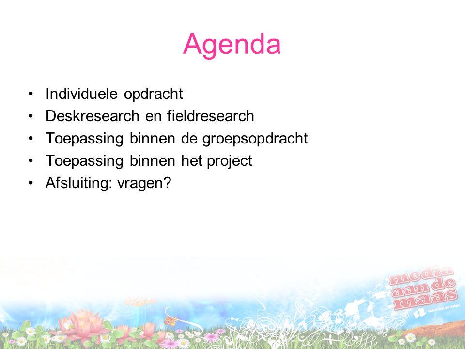Agenda Individuele opdracht Deskresearch en fieldresearch Toepassing binnen de groepsopdracht Toepassing binnen het project Afsluiting: vragen