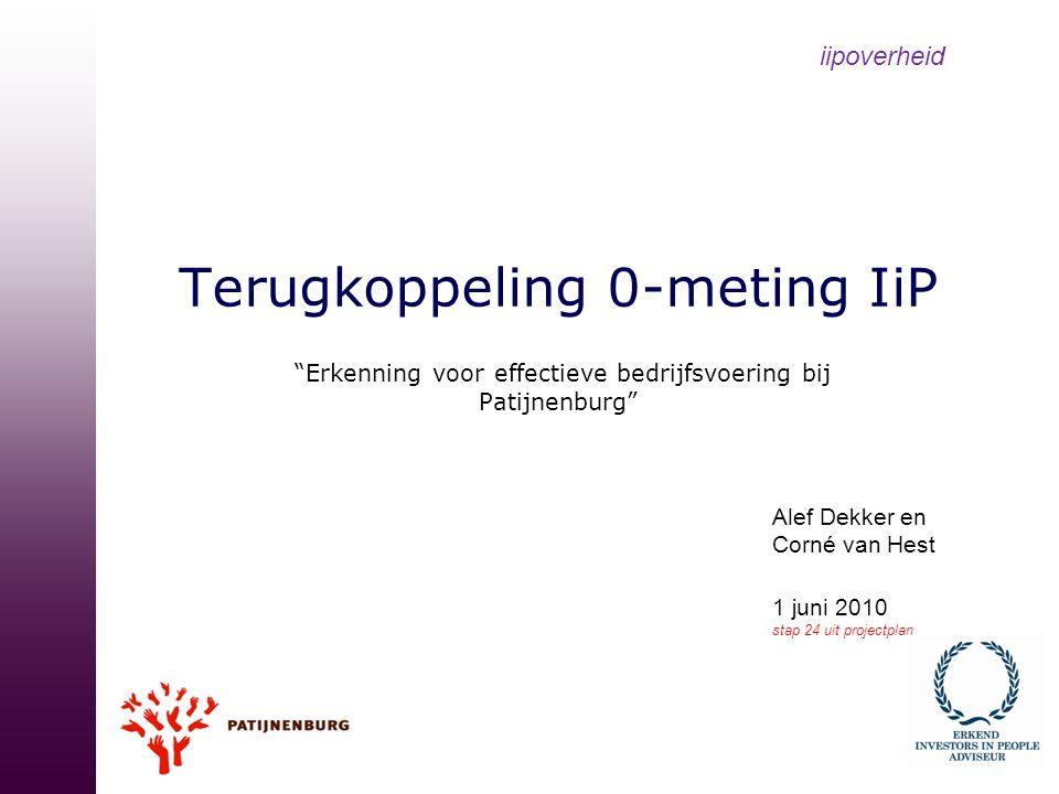 """Terugkoppeling 0-meting IiP """"Erkenning voor effectieve bedrijfsvoering bij Patijnenburg"""" iipoverheid Alef Dekker en Corné van Hest 1 juni 2010 stap 24"""