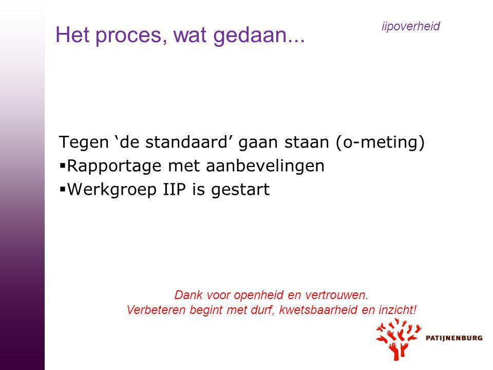Tegen 'de standaard' gaan staan (o-meting)  Rapportage met aanbevelingen  Werkgroep IIP is gestart iipoverheid Het proces, wat gedaan... Dank voor o