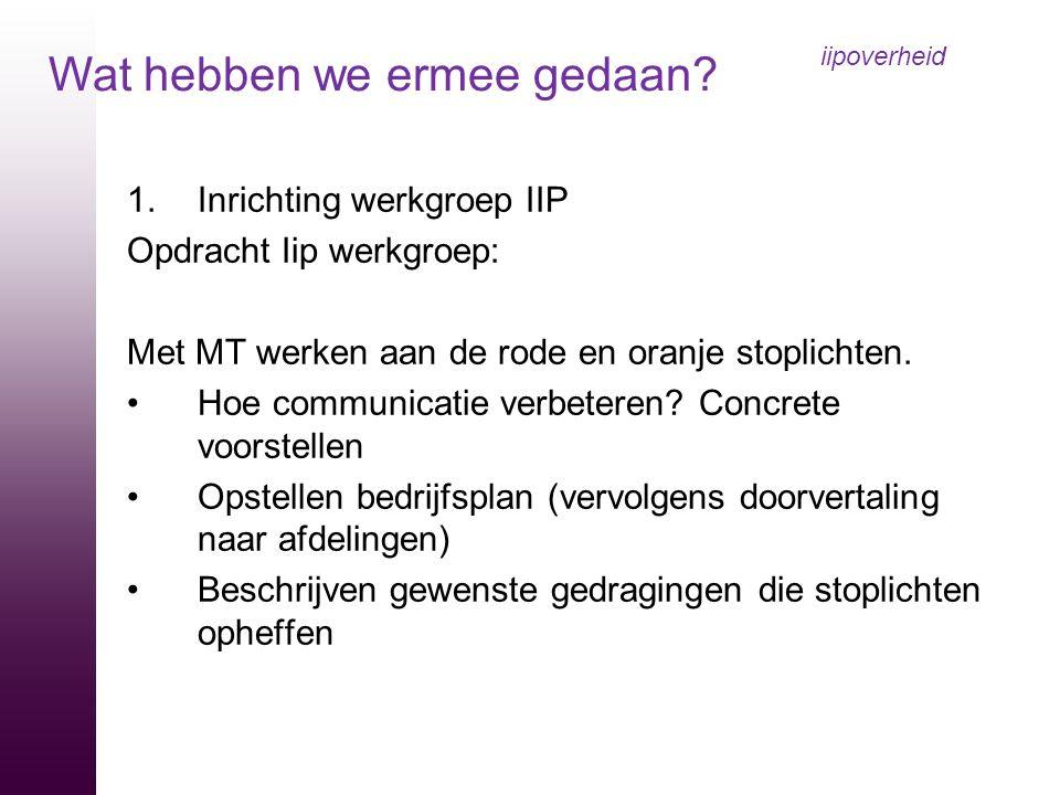 1.Inrichting werkgroep IIP Opdracht Iip werkgroep: Met MT werken aan de rode en oranje stoplichten. Hoe communicatie verbeteren? Concrete voorstellen