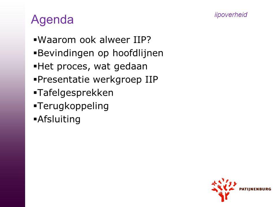  Waarom ook alweer IIP?  Bevindingen op hoofdlijnen  Het proces, wat gedaan  Presentatie werkgroep IIP  Tafelgesprekken  Terugkoppeling  Afslui