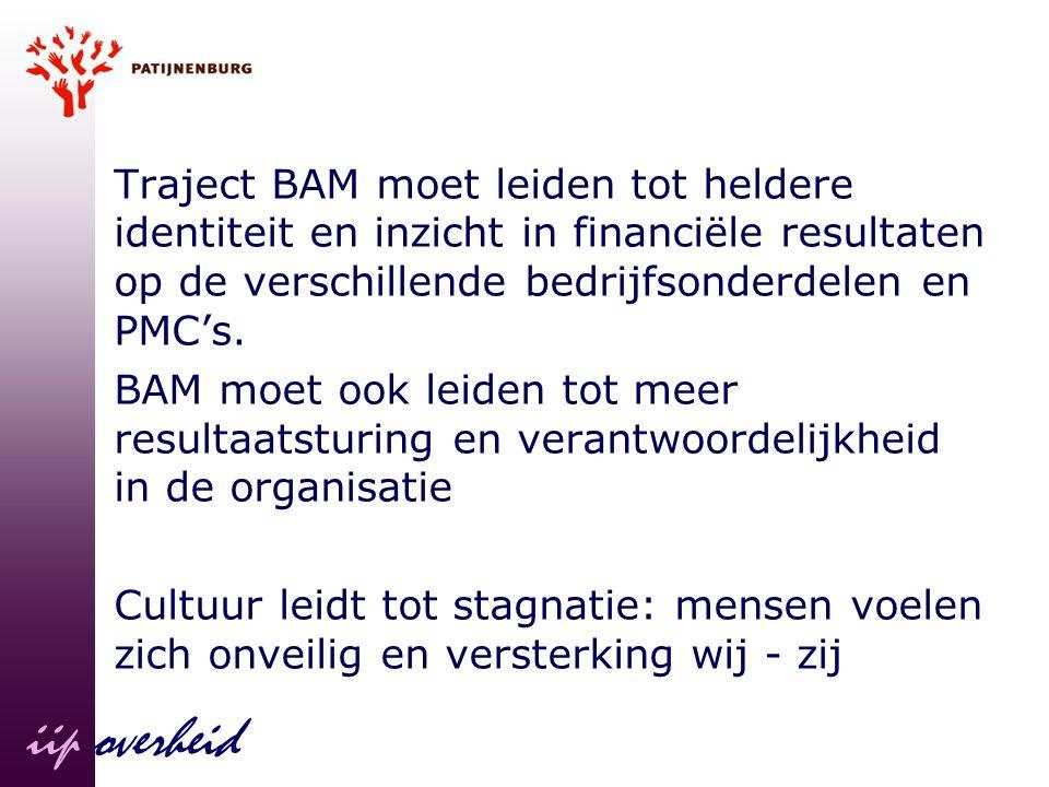 Traject BAM moet leiden tot heldere identiteit en inzicht in financiële resultaten op de verschillende bedrijfsonderdelen en PMC's. BAM moet ook leide