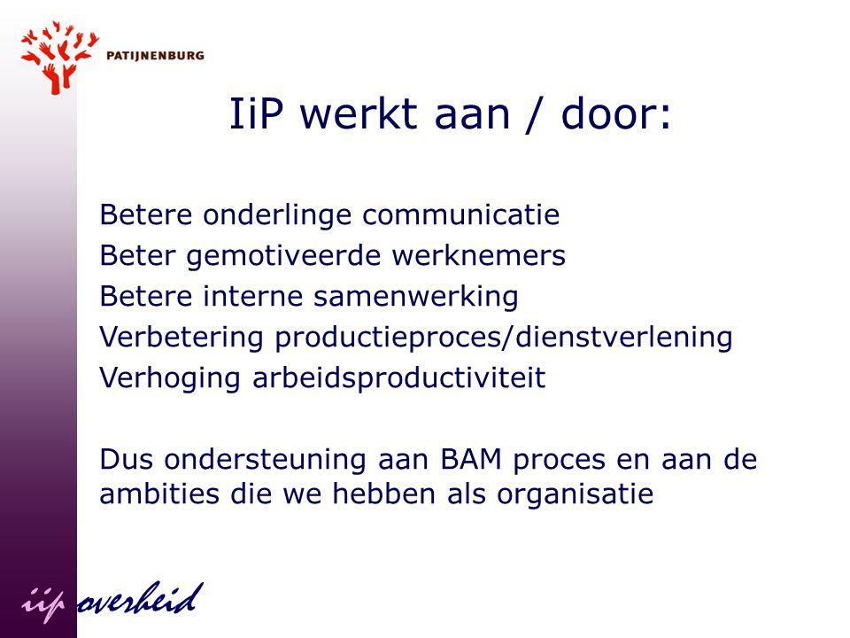 iip overheid IiP werkt aan / door: Betere onderlinge communicatie Beter gemotiveerde werknemers Betere interne samenwerking Verbetering productieproce