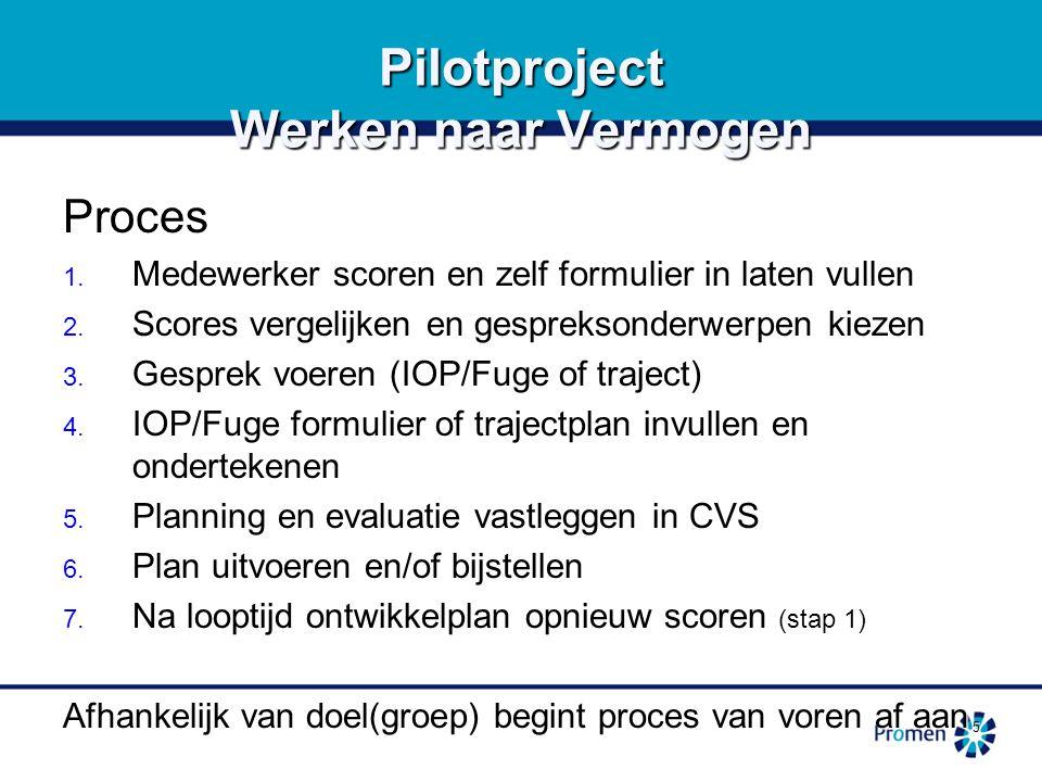 5 Pilotproject Werken naar Vermogen Proces 1.