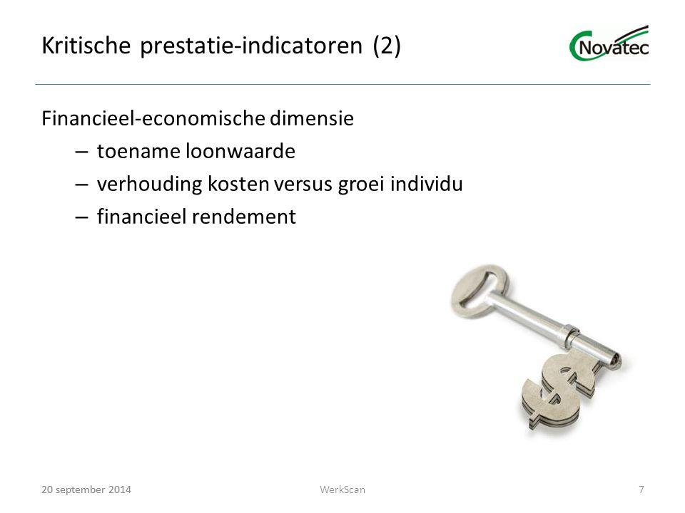 20 september 2014 Kritische prestatie-indicatoren (2) Financieel-economische dimensie – toename loonwaarde – verhouding kosten versus groei individu – financieel rendement 20 september 20147WerkScan
