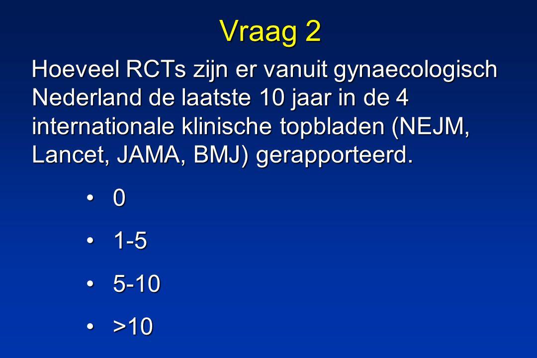 Vraag 2 Hoeveel RCTs zijn er vanuit gynaecologisch Nederland de laatste 10 jaar in de 4 internationale klinische topbladen (NEJM, Lancet, JAMA, BMJ) gerapporteerd.
