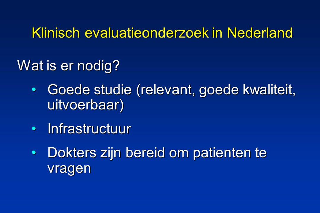 Klinisch evaluatieonderzoek in Nederland Wat is er nodig.