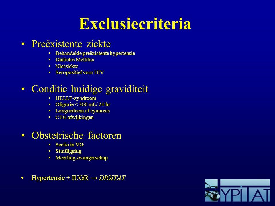 Exclusiecriteria Preëxistente ziekte Behandelde preëxistente hypertensie Diabetes Mellitus Nierziekte Seropositief voor HIV Conditie huidige gravidite