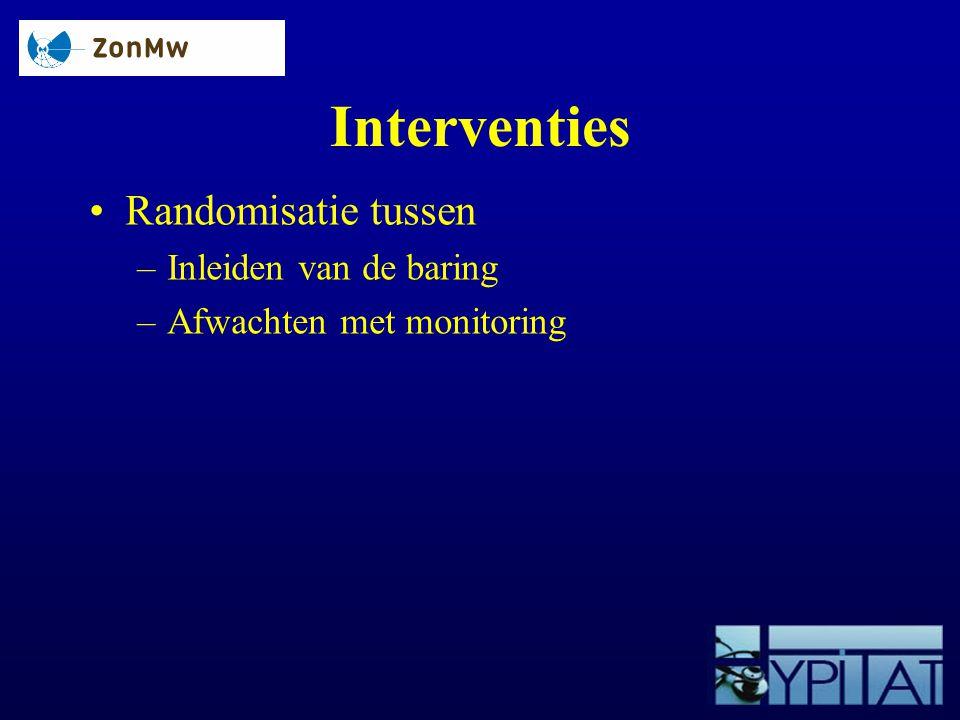 Interventies Randomisatie tussen –Inleiden van de baring –Afwachten met monitoring