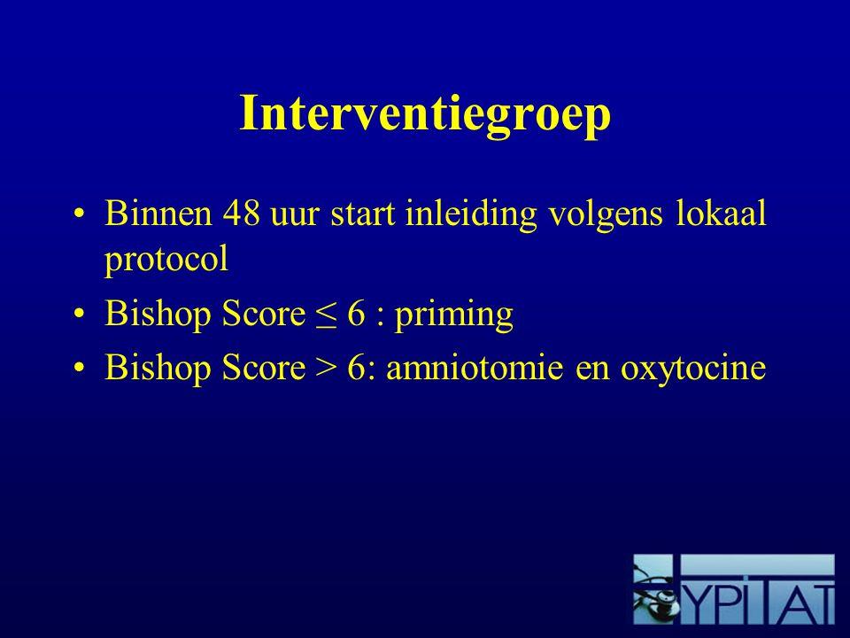 Interventiegroep Binnen 48 uur start inleiding volgens lokaal protocol Bishop Score ≤ 6 : priming Bishop Score > 6: amniotomie en oxytocine