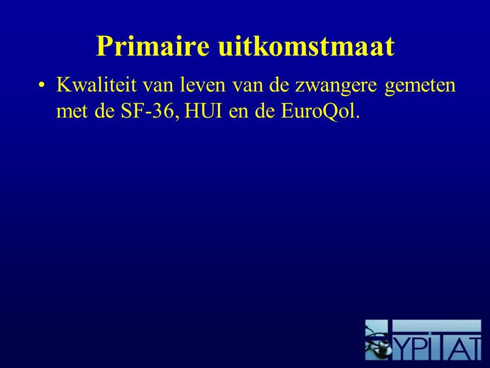 Primaire uitkomstmaat Kwaliteit van leven van de zwangere gemeten met de SF-36, HUI en de EuroQol.