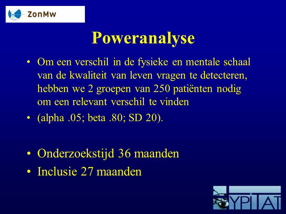 Poweranalyse Om een verschil in de fysieke en mentale schaal van de kwaliteit van leven vragen te detecteren, hebben we 2 groepen van 250 patiënten no